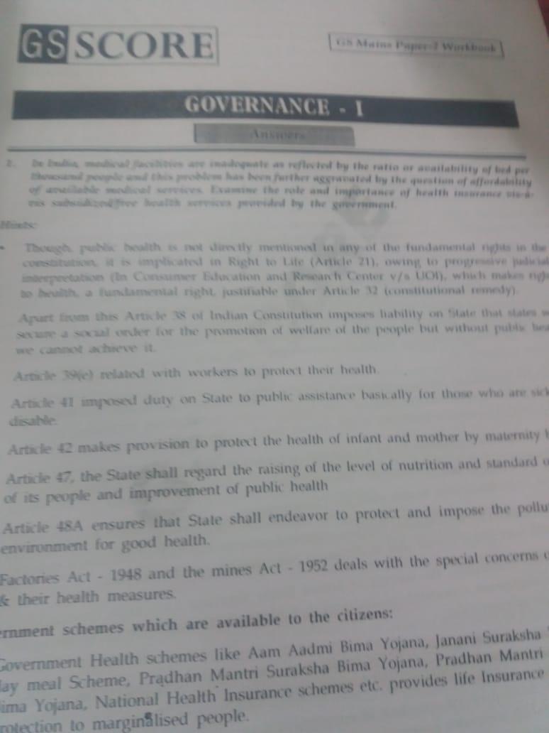 GS SCORE ANSWER WRITING WORKBOOK (GS Paper-2) IAS MAINS